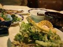 旬の天ぷらが自慢の夕食