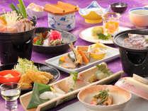 """グルメなご夕食""""瀬戸の旬会席""""の一例です"""