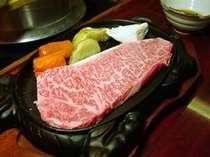 飛騨牛を思いっきり楽しむなら!鉄板焼きサーロインステーキ(一例)
