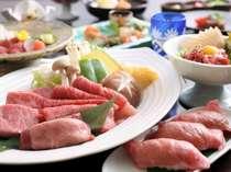 【飛騨牛尽くし】焼肉・しゃぶしゃぶ・ステーキ・握り・ワイン煮・飛騨牛三昧の全6品(一例)