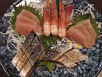 *夕食一例/真鯛、鯵、鯖、イカなど日本海で朝獲れた新鮮な魚を仕入れて、ご用意いたします。