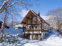 外観(冬)ニセコひらふの中でも静かなエリアにあります。