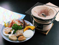 メイン料理の「炭火七輪焼」を目の前で!海鮮食材の旨みを焼いて食するプラン