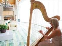 ロビーの生演奏。大自然とやさしい音色の調和をお楽しみ下さい。