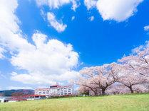 施設の外観。敷地内には1,200本もの桜の木があります。2016年4月20日撮影