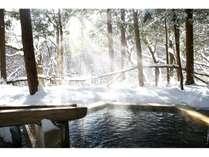 銀世界を眺めながらの贅沢な貸切露天風呂。