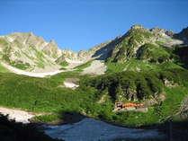 夏の涸沢です。まもなく紅葉して多くの登山者で賑わいます。