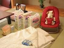赤ちゃんプランでは、お食事時用のバウンサーやオムツなどご用意!