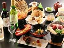 【和会席】御開帳プランには和御開帳和会席の一例。特典は選べる日本酒orワインボトルをお部屋に1本!