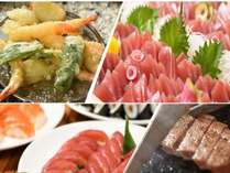 ■お寿司とお刺身はもちろん目の前で調理するステーキ・天ぷらも食べ放題!