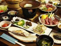◆【料理・夏季】夏季は陶板焼きでご用意。郷土料理と那須高原産の牛肉をお楽しみください。