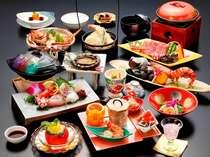 『蒼海(そうかい)』 あわびと牛肉のふたつの陶板焼が楽しめます。(全15品程)
