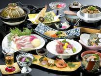 『夕波コラーゲン鍋付』 「三河秀麗豚コラーゲンスープ鍋」が絶品!新鮮な海の幸も満載です。