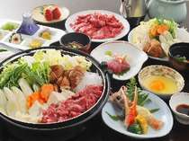 お肉の食べ放題すき焼きコースの一例