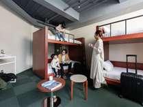 エコノミークアッド:二段ベッドを2台設置、最大4名様まで利用可能。