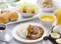 無料軽朝食◆人気の朝カレー・パン・コーンスープ・ごはん・サラダ・ゆで卵・コーヒー・ジュース