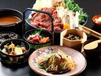 【夕食】「熟成馬肩ロースのさくら鍋」と、里山・信州の食材を使った創作料理。