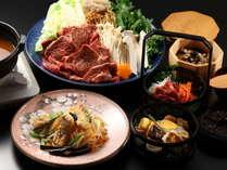 """【夕食】「希少馬肩ロース肉の特製""""焼き味噌""""さくら鍋」と、里山・信州の食材を使った創作料理。"""