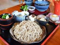 【奥の湯膳イメージ】プラン限定で、蕎麦もデザートも選べて、プラス一品までついた贅沢な昼食☆