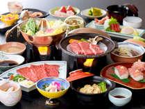*[夕食一例]グレードアッププランでは、山形牛を贅沢にしゃぶしゃぶ&陶板焼きで。