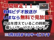 期間限定で有料ビデオ放送が見放題!!