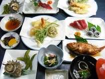お料理少なめ!リーズナブルな【下田海の幸、自家製野菜が食べられるプラン】夕食一例(2名様分)