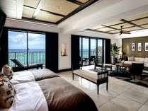 【プレミアムクラブフロア/ロイヤル(12F)】ホテル最上階の角に位置する天蓋付ベッドのある客室