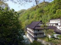 【外観】自然豊かな宝川温泉。木々の緑が眩しい。