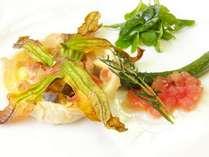【2016年7月】花ズッキーニのキッシュ仕立て(フランス料理メレーズ・オードヴル)