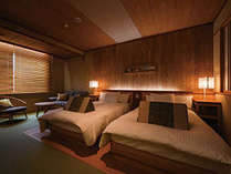 【さくらツイン2階】森の息づかいと共に静かに過ごし、五感を癒す眠りのための寝室です。