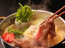 【蔵王膳】古窯のスタンダードプラン。古窯オリジナルの胡麻風味ダレのすき焼きは絶品です(※別注も可能)