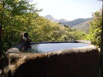貸切利用のw空飛ぶ石風呂wは18トンの天然の巨石の中をくり抜き、二人で入ってもゆうゆうの大きさ