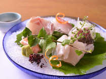 *お夕食一例(お造り)/日本海で水揚げされた新鮮な魚介類をお刺身に。