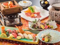 大人のグルメ寿司会席(冬)。にぎり寿司、てっさ、牛しゃぶしゃぶ、タラバガニなど(イメージ)。