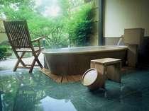 露天風呂付き客室(202号室[水仙])メゾネットタイプ  いつでもゆったり入れます。