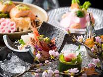 春のお料理一例。加賀金沢らしい華やかな彩りを添えて。
