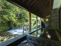 秋の露天風呂からの景色。