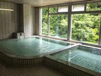 PH10.4の強アルカリの温泉浴室の窓の外は緑がいっぱい!!日帰り湯もご利用できます。