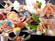 蟹づくし会席。本物の証であるタグ付き蟹を中心に、茹で・焼き・刺し・揚げなど蟹フルコース