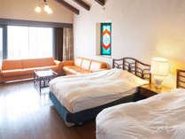 天井が高く、開放感があるツインタイプは、最大4名様までご宿泊いただけます。