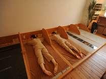 ■癒し部屋「岩盤浴」/うつぶせ5分・あお向け10分・休憩5分を2~3回繰り返します