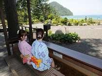 ■萩の癒しスポット『菊ヶ浜一望☆足湯』/庭園・日本海が見渡せます。