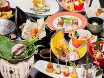 【萩彩花】鯛しゃぶ鍋・あわび陶板焼き・和牛ミニステーキなど盛込んだ会席(一例)
