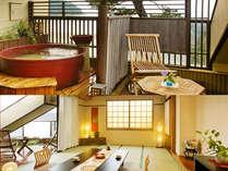 ■最上階・露天風呂付客室【つばき】4階・和室10畳+6畳・温泉付陶器風呂(イメージ)
