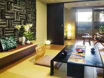 ●露天風呂付客室【ききょう】黒を基調にしたモダン客室/6帖・3階(イメージ・お部屋の確約は不可)