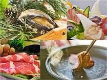 ■4大贅味会席・彩花■地魚七種盛合せ、山口県産・高原豚、萩・見蘭牛、活き鮑(イメージ)