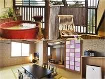 ■最上階・露天風呂付客室【つばき】温泉に浸かりながら見える景色、耳うつ波の音でお過ごし下さい