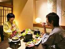 ■夕食・朝食個室処(イメージ)二人で気兼ねせず、ゆったりとお食事を