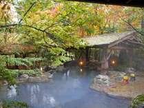 野天風呂では、光の加減や温度によって微妙に色を変える独特な泉質をお楽しみいただけます。