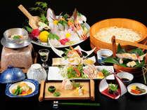 新鮮な鯛姿造りにプリプリ鶏のたたき会席料理